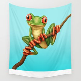 Cute Green Tree Frog on a Branch Wall Tapestry