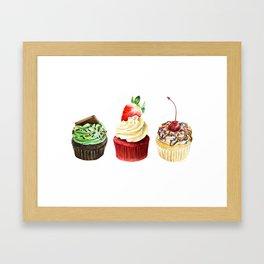 Three Cupcakes Framed Art Print