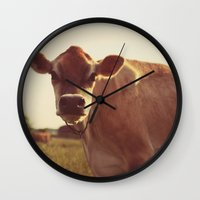 cow Wall Clocks featuring cow by Beverly LeFevre