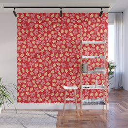 Gust and Leaves Pattern (Red) Wall Mural