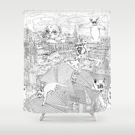 Giant cats and dogs take over the city Shower Curtain