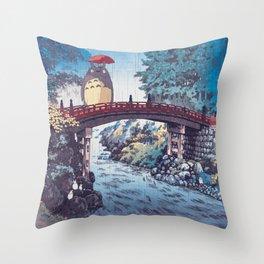My neighbour Toto vintage japanese mashup Throw Pillow