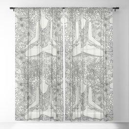 lotus garden vintage black Sheer Curtain