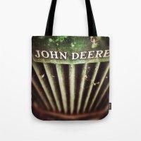 john green Tote Bags featuring John Deere by Justin Alan Casey