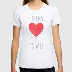 Listen to your heart Ash Grey X-LARGE Womens Fitted Tee