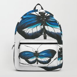 Butterfly Blue Black & White Backpack