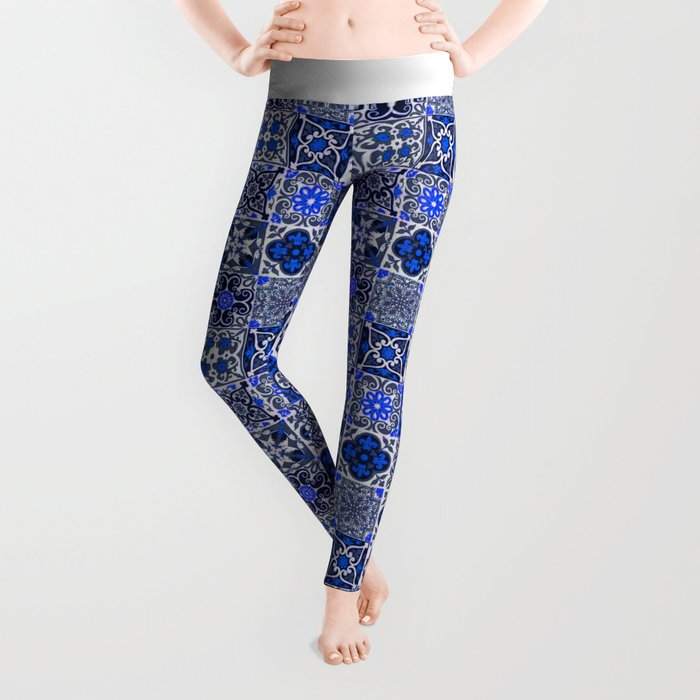 -A34- Blue Traditional Floral Moroccan Tiles. Leggings