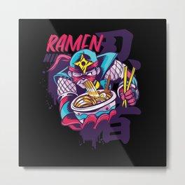 Ramen Ninja Kwaii Japanese Gift for Kids Metal Print