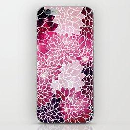 Space Dahlias Magenta iPhone Skin
