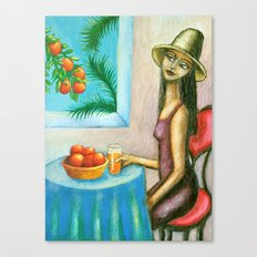 Lady with Oranges Canvas Print