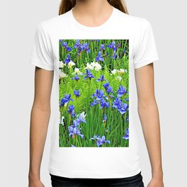 BLUE & WHITE  IRIS FLOWER GARDEN T-shirt