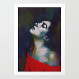 Girl in a red blouse. Art Print