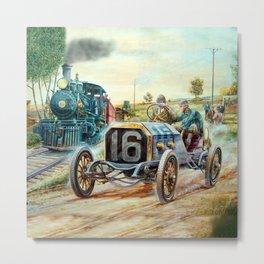 Vintage Cars Racing Scene,train painting Metal Print