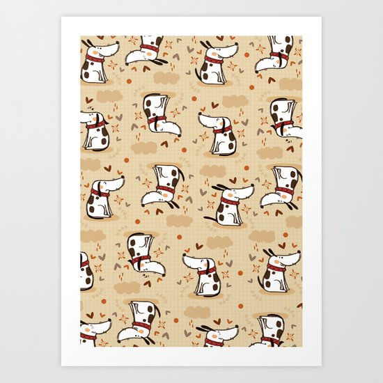 EMOTIONAL WHITE DOGGY  Art Print