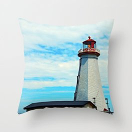 Red Light of North Cape Lighthouse Throw Pillow