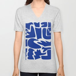 Blue shapes on white background Unisex V-Neck