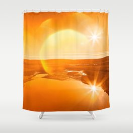 Twin Suns of Point Reyes - Gold Bokeh Bliss Shower Curtain