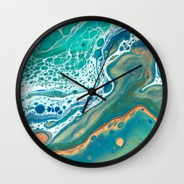 Coastal Waters Acrylic Pour Wall Clock