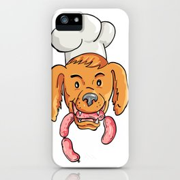 Chef Dog Biting Sausage String Cartoon Color iPhone Case