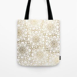 Elegant Hand Drawn Faux Gold White Floral Illustration Tote Bag