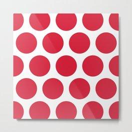 Large Polka Dots: Red Metal Print