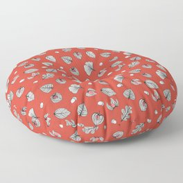 Red Physalis and skeleton leaves Floor Pillow