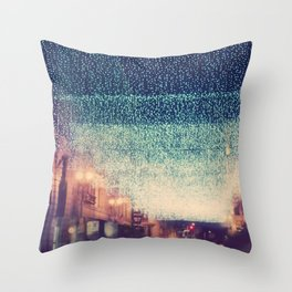 downtown Los Angeles at night photograph. Starry Night Throw Pillow