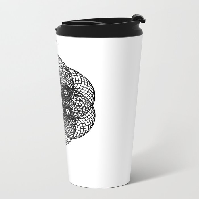 Mesh Geometry II White Metal Travel Mug