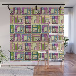 House wall with cute windows Wall Mural