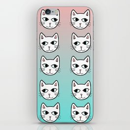 Whimsical White Cats Mint Pink Pattern iPhone Skin