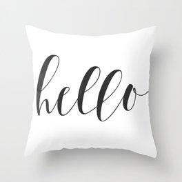 Hello (Black) Throw Pillow