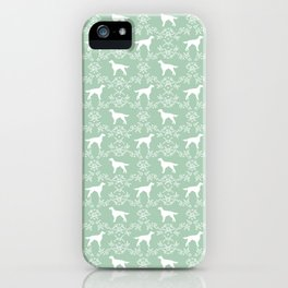 Irish Setter floral dog breed silhouette minimal pattern mint and white dogs silhouettes iPhone Case