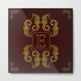 Letter E Seahorse Metal Print