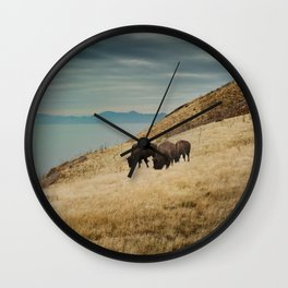 Bison overlook Wall Clock