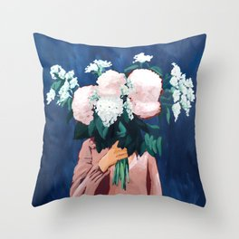 Posy III / Midnight Blooms Throw Pillow