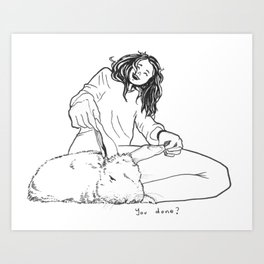 Playing with Paopao Pen Illustration Art Print