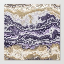 Purple and ochre marble texture Canvas Print