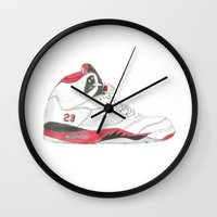 air jordan Wall Clocks featuring Air Jordan 5 Retro Fire Red by Ivana Citakovic