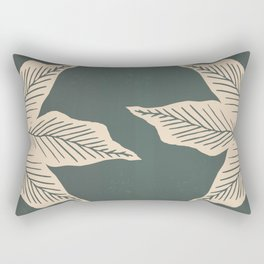 Surrounded by Plant Lovers - Green & Beige Rectangular Pillow