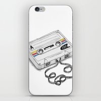 cassette iPhone & iPod Skins featuring Cassette by Sonia Puga Design