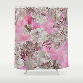 Neon Pink Floral Shower Curtain