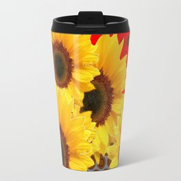 RED-YELLOW SUNFLOWERS GREY ABSTRACT Travel Mug
