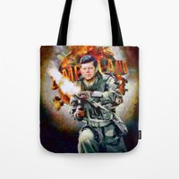 jfk Tote Bags featuring Zombieland: JFK by Richard Michaud