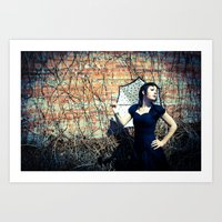 Gothic Woman Out for a Gothic Stroll Art Print