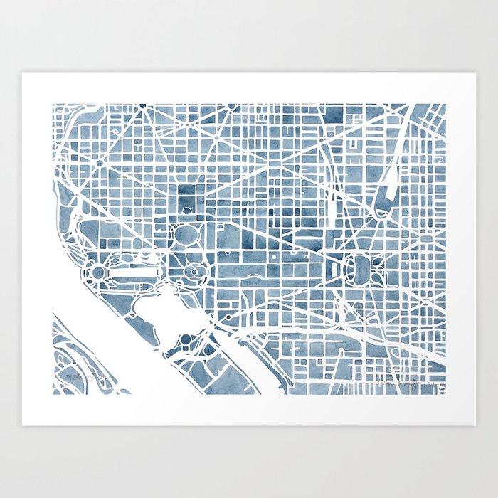 Washington dc blueprint watercolor map art print by aemcdraw washington dc blueprint watercolor map art print malvernweather Images