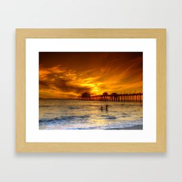 A Winter's Dip * Huntington Beach, California Framed Art Print