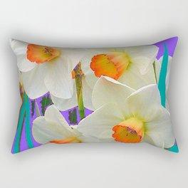 WHITE-GOLD NARCISSUS FLOWERS LAVENDER GARDEN Rectangular Pillow