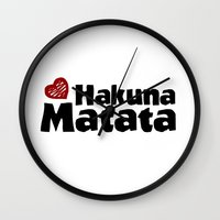 hakuna Wall Clocks featuring Hakuna Matata by The Wellington Boot