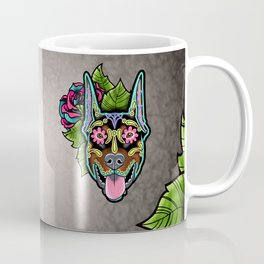 Doberman with Cropped Ears - Day of the Dead Sugar Skull Dog Coffee Mug