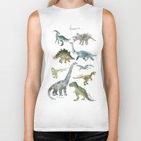 dinosaurs Biker Tanks featuring Dinosaurs by Amy Hamilton